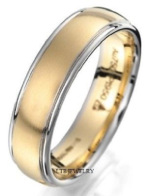 18K TWO TONE GOLD MENS WEDDING BAND RING  6.5MM