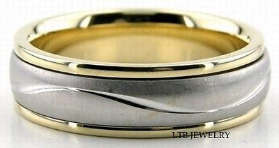 14K MENS 6MM TWO TONE GOLD WEDDING BAND RING 6.5MM