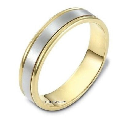 MENS 14K TWO TONE GOLD WEDDING BAND RING  5MM