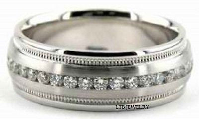 MENS 18K WHITE GOLD WEDDING BAND DIAMOND RING 7MM