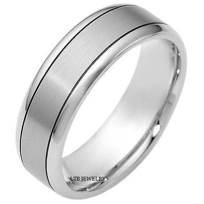 MENS 10K WHITE GOLD WEDDING BAND SATIN RING 7MM