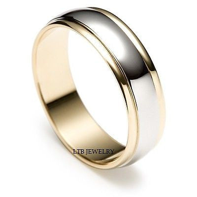 950 PLATINUM & 18K GOLD MENS WEDDING BAND RING 6MM