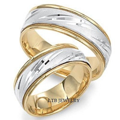 18K TWO TONE GOLD MATCHING WEDDING BANDS  HIS & HERS RINGS SET