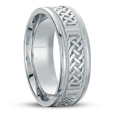 18K WHITE GOLD MENS CELTIC WEDDING BAND RING 7MM