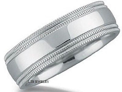 18K WHITE GOLD MENS WEDDING BAND RING