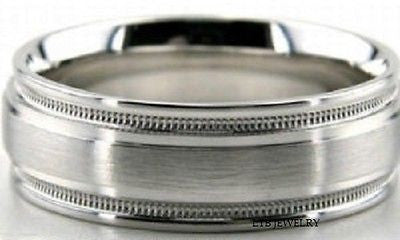 14K WHITE GOLD MENS WEDDING BAND RING MILGRAIN 7MM
