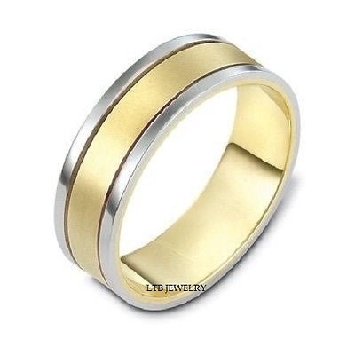 MENS 10K TWO TONE GOLD WEDDING BAND RING  7MM