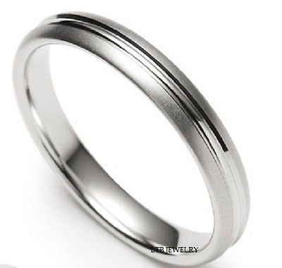10K WHITE GOLD WEDDING BAND MENS RING 4MM