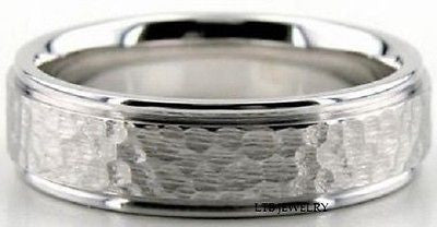 14K WHITE GOLD MENS MAN WEDDING BAND RING  6MM