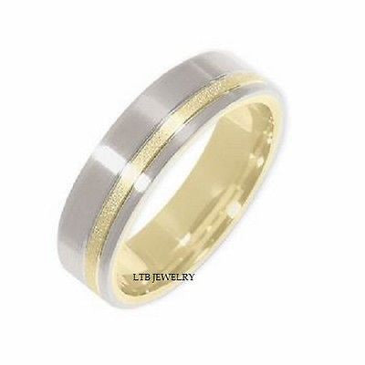 MENS 14K TWO TONE GOLD WEDDING BAND RING SATIN FNSH 6MM