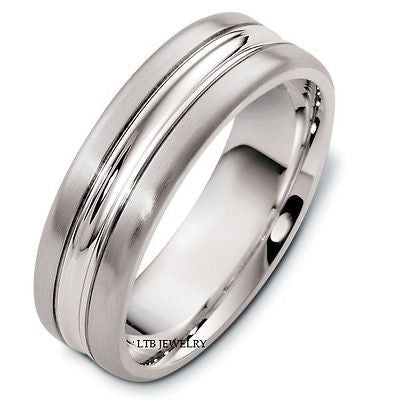 14K WHITE GOLD MENS MAN WEDDING BAND RING