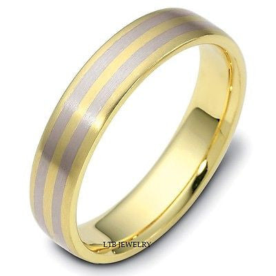 MENS 18K TWO TONE GOLD WEDDING BAND RING