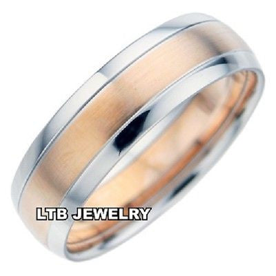 18K TWO TONE GOLD MENS MANS WEDDING BAND RING 6MM