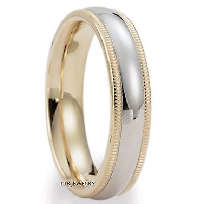 10K TWO TONE GOLD 6MM MENS WEDDING BAND RING