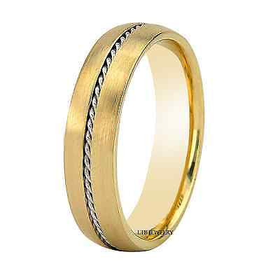 MENS 18K TWO TONE GOLD WEDDING BAND RING 5MM