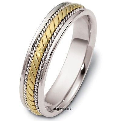 18K TWO TONE GOLD MENS BRAIDED WEDDING BAND RING  5MM