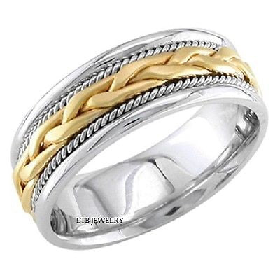 18K TWO TONE GOLD MENS  WEDDING BAND RING  BRAIDED 8MM