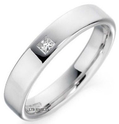 MENS 18K WHITE GOLD  DIAMOND WEDDING BAND RING  5MM