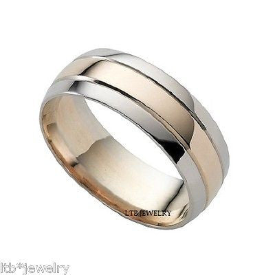 14K WHITE & ROSE GOLD WEDDING BAND RING TWO TONE 7MM