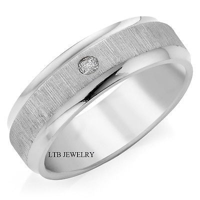14K WHITE GOLD MENS DIAMOND WEDDING BAND RING  6MM