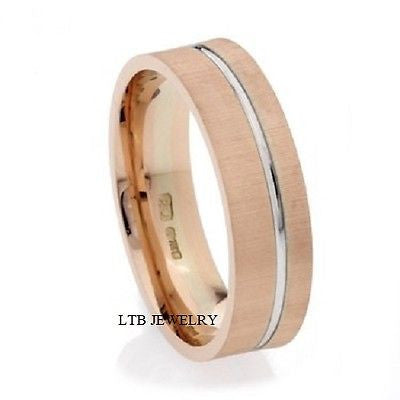 MENS 10K WHITE AND ROSE GOLD WEDDING BAND RING  6MM
