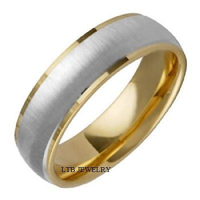 MENS 18K TWO TONE GOLD WEDDING BAND RING 6.5MM