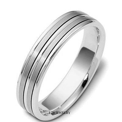 10K WHITE GOLD MENS WEDDING BAND RING 5MM