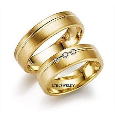 10K YELLOW GOLD MATCHING HIS & HERS WEDDING BANDS DIAMONDS RINGS MENS WOMENS SET