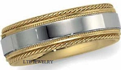 MENS 14K TWO TONE GOLD WEDDING BAND RING  7MM