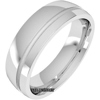 MENS 18K WHITE GOLD   WEDDING BAND RING  7MM