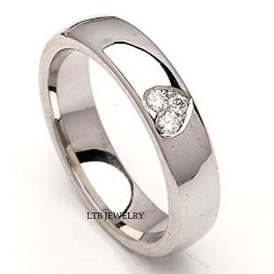 MENS 14K WHITE GOLD  DIAMOND WEDDING BAND RING  5MM