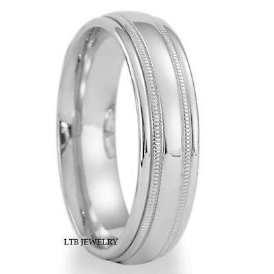 18K WHITE GOLD MENS WEDDING BAND RING 6MM