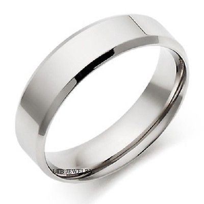 MENS 10K WHITE GOLD WEDDING BAND RING 6MM