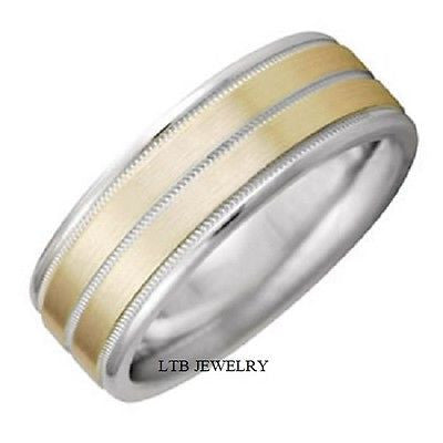 MENS 10K TWO TONE GOLD WEDDING BAND RING 8MM