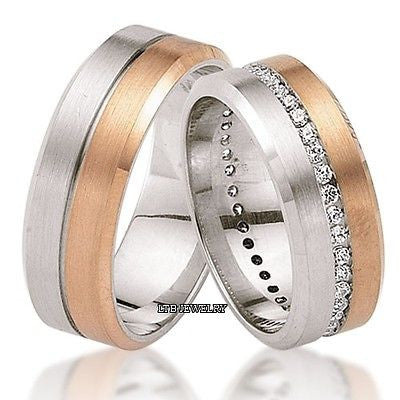 14K  GOLD MATCHING HIS & HERS WEDDING BANDS DIAMONDS RINGS MENS WOMENS SET
