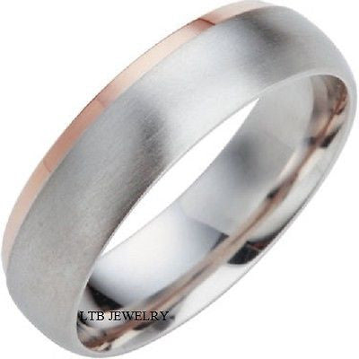 MENS 10K WHITE AND ROSE GOLD WEDDING BAND RING  6.5MM