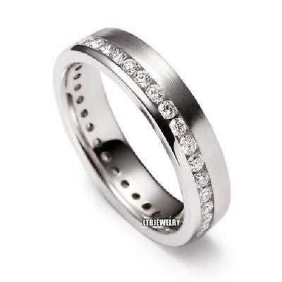 950 PLATINUM MENS DIAMOND WEDDING BAND RING 5MM