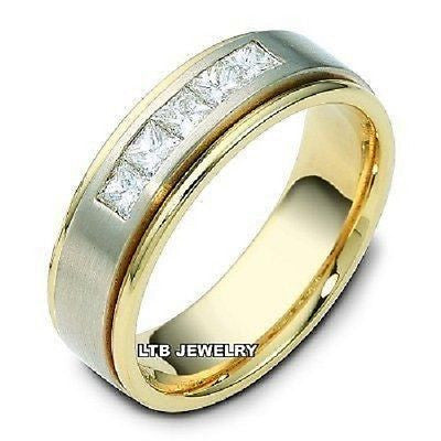 14K TWO TONE GOLD MENS DIAMOND WEDDING BAND RING