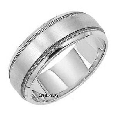 18K WHITE GOLD MENS WEDDING BAND RING 7MM
