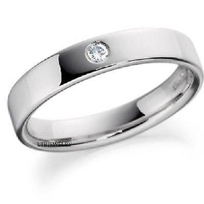 950 PLATINUM MENS DIAMOND WEDDING BAND RING 4MM