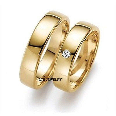 18K YELLOW GOLD MATCHING HIS & HERS WEDDING BANDS DIAMONDS RINGS MENS WOMENS SET