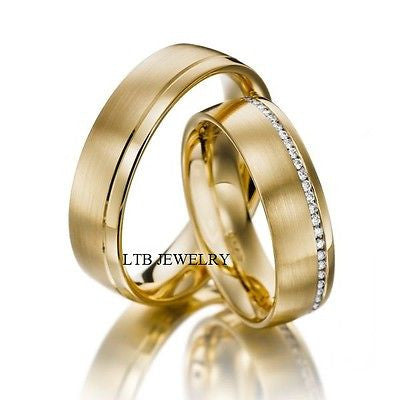 14K YELLOW GOLD MATCHING HIS & HERS WEDDING BANDS DIAMOND RINGS MENS WOMENS SET