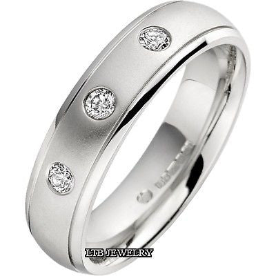 MENS 18K WHITE GOLD  DIAMOND WEDDING BAND RING 6MM