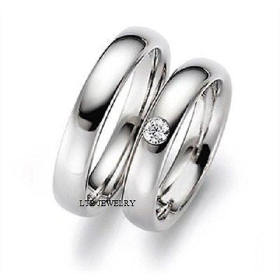 10K WHITE GOLD MATCHING HIS & HERS WEDDING BANDS DIAMONDS RINGS MENS WOMENS SET