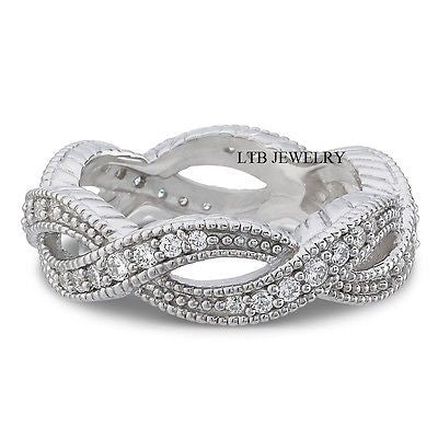 10K White Gold Eternity Rings with Swiss Cut CZ Stone,Womens Wedding Rings