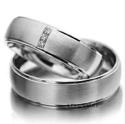 14K WHITE GOLD MATCHING HIS & HERS WEDDING BANDS DIAMONDS RINGS MENS WOMENS SET