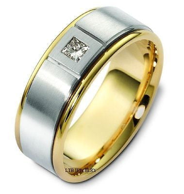 950 PLATINUM & 18K GOLD MENS DIAMOND WEDDING BAND RING 7MM