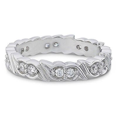 Womens 10K White Gold Eternity Rings with Swiss Cut Cubic Zirconia,Wedding Rings