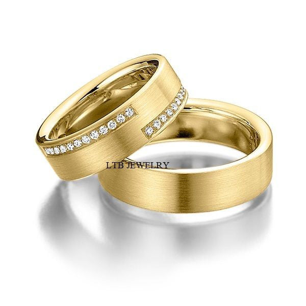 His and Hers Wedding Rings,14K Yellow Gold Matching Wedding Bands with Diamonds