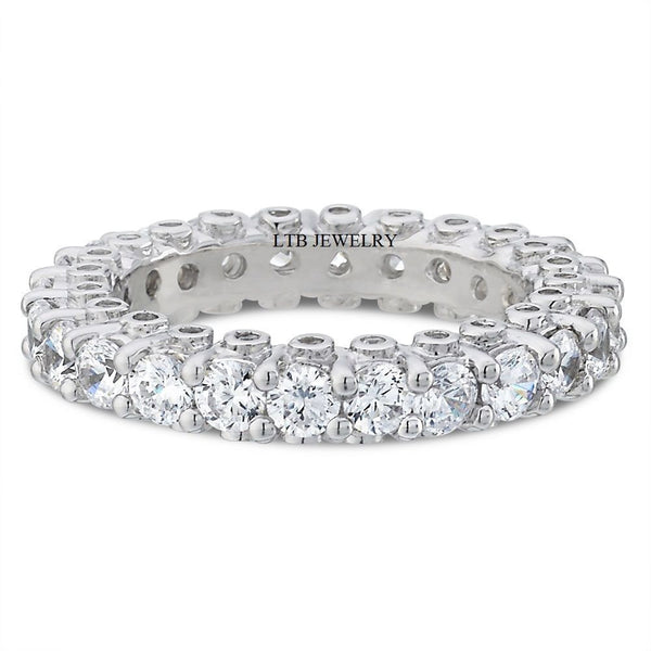 Womens Wedding Bands,14K White Gold Diamond Eternity Rings 2.60 Carats